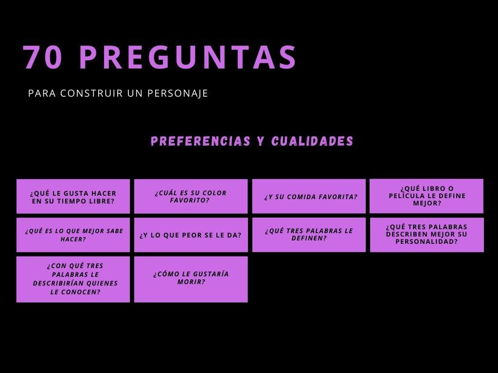 Preguntas sobre preferencias y cualidades